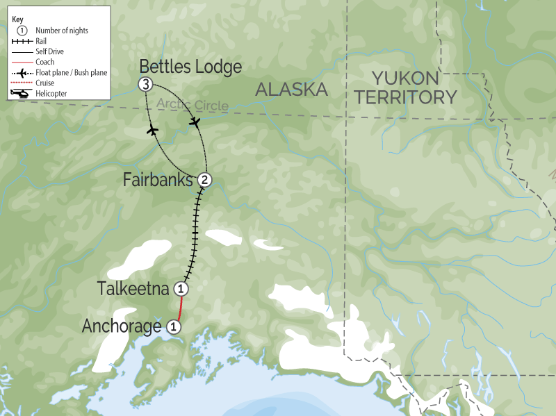 Alaska Aurora Rail Adventure | Bettles Lodge  map