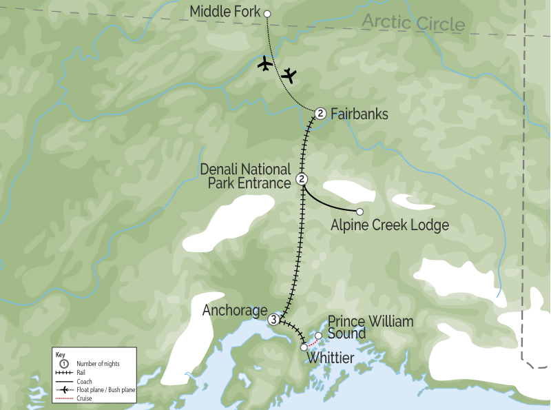 Alaska Land Tour with Denali, Glaciers and the Arctic map