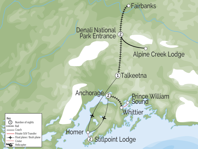 Alaska Stillpoint Lodge with Denali by Train map