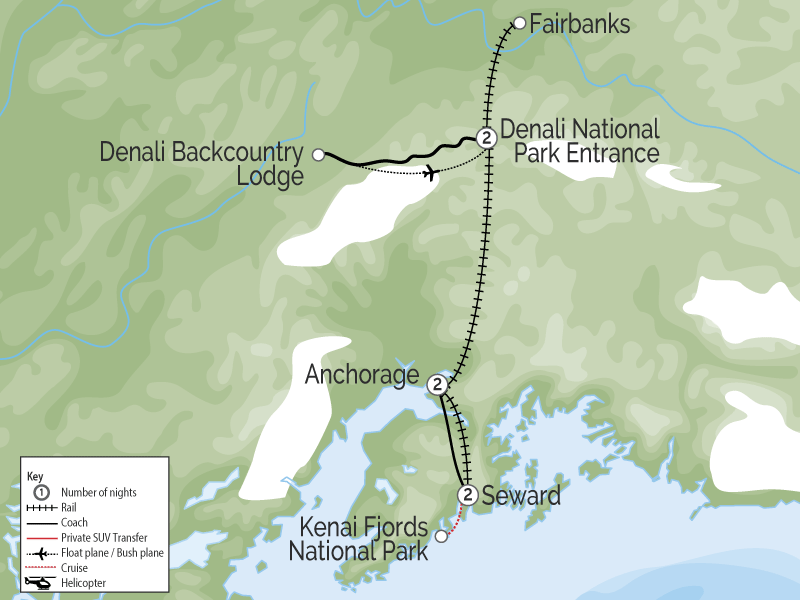 Alaska Trains Glaciers & Denali map