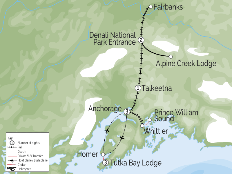 Alaska's Lodges, Glaciers & Denali map