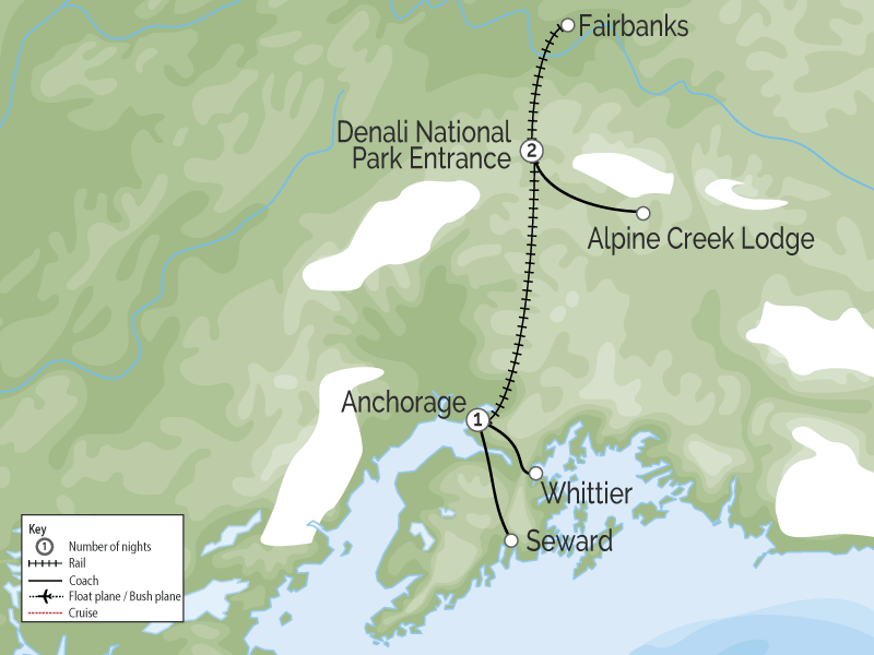 Best of Alaska, Trains, Wildlife & Denali - Cruise Connector map