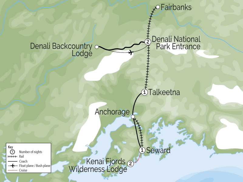 Kenai Fjords Denali Explorer | Alaska Rail Tour map