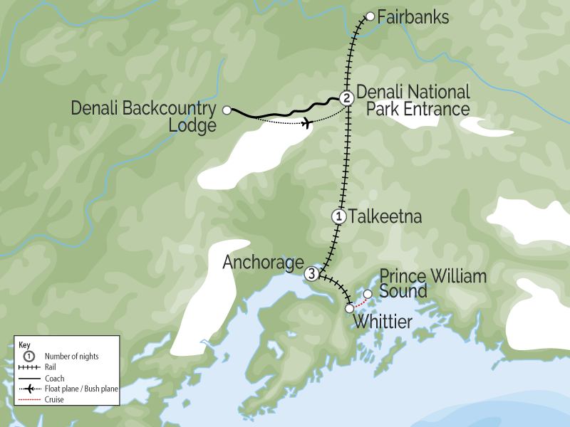 Prince William Sound Denali Explorer | Alaska Favorites by Rail map