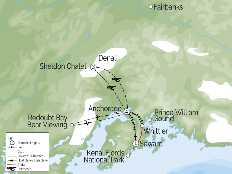 Sheldon Chalet Experience with Kenai and Prince William Sound map