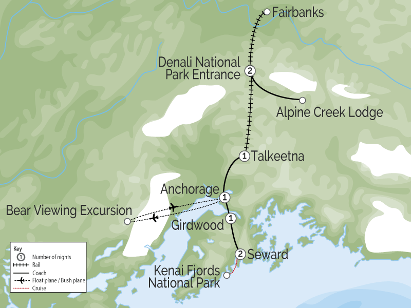 Signature Alaska Rail Vacation map