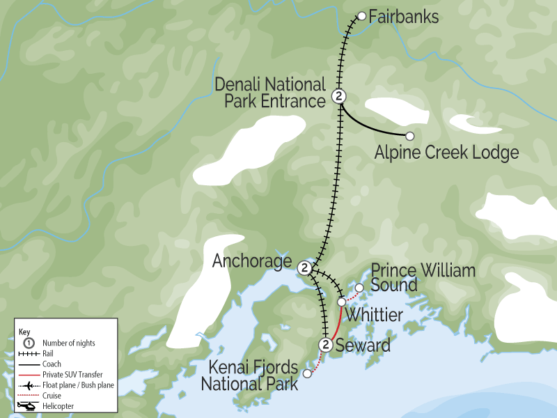 Spectacular Glaciers, Denali & Alaska Rail Adventure map