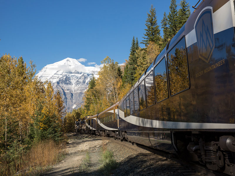 Alaska Cruise with Canadian Rockies Train Tour | Rocky Mountaineer Train near Mt Robson in Jasper National Park